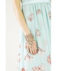BCBGMAXAZRIA - Metallic Floral Stone Hand Chain - Lyst