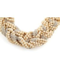 James Lakeland - White Neutral Beaded And Chain Plait Necklace - Lyst
