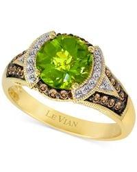 Le Vian | Metallic Chocolatier Peridot (1-3/4 Ct. T.w.) And Diamond (1/5 Ct. T.w.) Ring In 14k Gold | Lyst