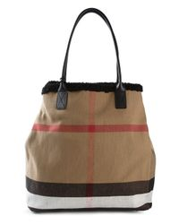 Burberry | Natural Medium Shearling-Lined Canvas Check Tote | Lyst