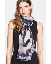 St. John - Multicolor Rose Print Silk Scarf - Lyst