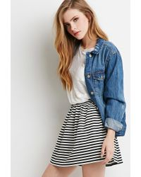 Forever 21 | Black Striped A-line Mini Skirt | Lyst