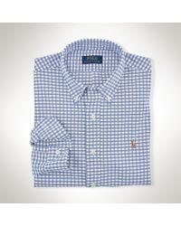 Polo Ralph Lauren | Blue Slim-fit Gingham Oxford Shirt for Men | Lyst