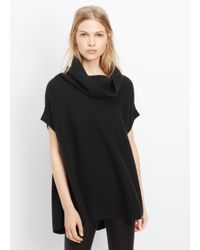 Vince | Black Cashmere Ribbed Cap Sleeve Turtleneck | Lyst