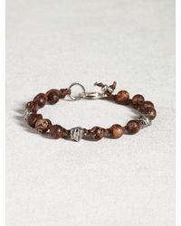 John Varvatos | Brown Matte Agate Bead Bracelet for Men | Lyst