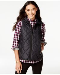 G.H. Bass & Co. - Black Packable Quilted Vest - Lyst
