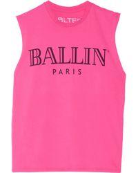 Brian Lichtenberg | Pink Ballin Printed Cotton-jersey Tank | Lyst