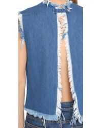Marques'Almeida | Open Denim Crop Top - Mid Blue | Lyst