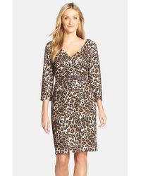 NYDJ - Multicolor Ruched Leopard Print Sheath Dress - Lyst