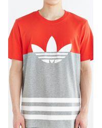 Adidas - Orange Originals Colorblock Trefoil Tee for Men - Lyst