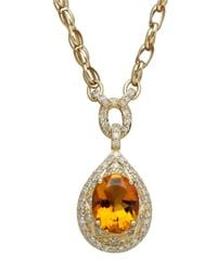 Lord & Taylor | Orange 14k Yellow Gold Citrine And Diamond Necklace | Lyst