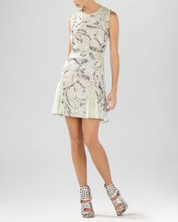 BCBGMAXAZRIA | Gray Dress - Gwenyth Blossom Print Flared | Lyst