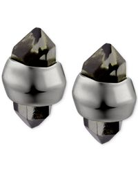 T Tahari | Hematite-Tone Black Diamond Crystal Stud Earrings | Lyst