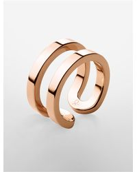 Calvin Klein | Metallic Platinum Label Return Pvd Rose Gold Ring | Lyst