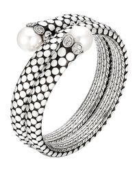 John Hardy | Metallic Dot Pearl & Diamond Double Coil Bracelet | Lyst