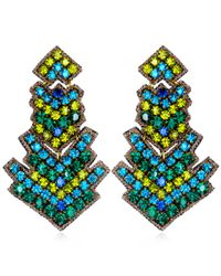 Suzanna Dai | Green Zocalo Large Drop Earrings, Olive/teal | Lyst