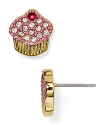 kate spade new york | Pink Pavé Cupcake Stud Earrings | Lyst