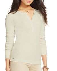 Lauren by Ralph Lauren - Natural Cotton Waffle-knit Henley - Lyst