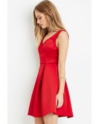 Forever 21 - Red Pleated A-line Dress - Lyst