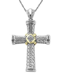 Lord & Taylor | Metallic Diamond Accented Cross In Sterling Silver With 14k Yellow Gold .06 Tcw | Lyst