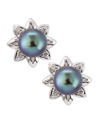 Belpearl | Blue Flowermotif Tahitian Pearl Earrings | Lyst