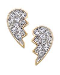 Juicy Couture - Metallic Goldtone Best Friend Pave Stud Earrings - Lyst
