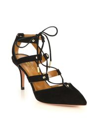 Aquazzura - Black Bel Air Caged Suede Pumps - Lyst