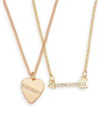 BCBGeneration - Metallic Share The Love Heart & Arrow Necklace Set - Lyst