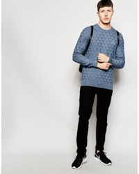 Lacoste L!ive   Blue Jumper With Triangle Knit for Men   Lyst