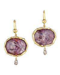 Mimi So - Blue Oval Sapphirediamond Drop Earrings Redbrown - Lyst