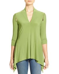 Chaus | Green Zip Shoulder Handkerchief Hem V-neck Top | Lyst