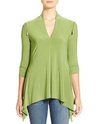 Chaus - Green Zip Shoulder Handkerchief Hem V-neck Top - Lyst
