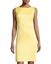 Oscar de la Renta - Blue Asymmetric-seam Sleeveless Sheath Dress - Lyst