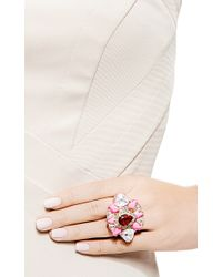 Shourouk - Galaxy Gold Plated Swarovski Crystal Ring in Pink - Lyst