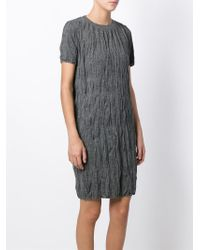 Emporio Armani - Gray Creased-Effect Wool-Blend Dress - Lyst