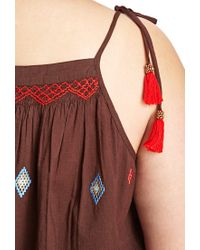 Forever 21 - Brown Plus Size Embroidered Self-tie Cami You've Been Added To The Waitlist - Lyst