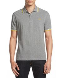 Fred Perry | Gray Trim Fit Twin Tipped Polo for Men | Lyst