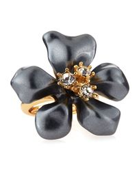 Kenneth Jay Lane   Adjustable Pearly Gray Crystal Flower Ring   Lyst