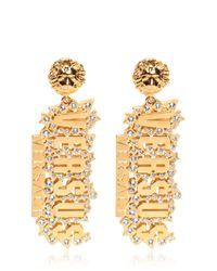 Versus - Metallic Rhinestones On Gold Plated Logo Earrings - Lyst