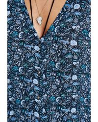 Forever 21 - Blue Floral Button-front Dress - Lyst