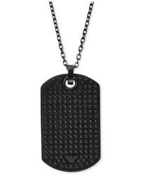 Emporio Armani - Metallic Men's Gunmetal-tone Black Leather Dog Tag Pendant Necklace Egs1986 for Men - Lyst