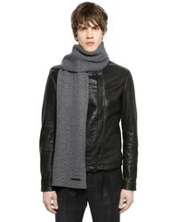 Emporio Armani - Gray Wool Blend Knit Scarf for Men - Lyst