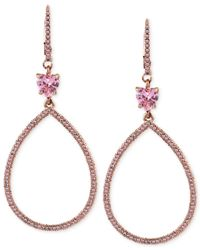 Betsey Johnson | Pink Pavé Crystal Teardrop Earrings | Lyst