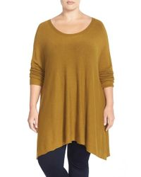 Eileen Fisher | Brown Stretch Knit High/low Tunic Sweater | Lyst