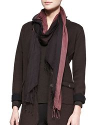 Eileen Fisher - Brown Metallic-Border Striped Modal Scarf - Lyst
