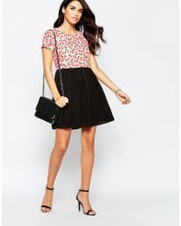 Sugarhill - Dress In Pear Print With Contrast Skirt - Cream/black - Lyst