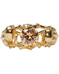 Alexander McQueen | Metallic Gold Twin Skeleton Ring | Lyst