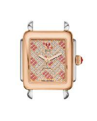Michele - Pink 'deco 16' Two-tone Diamond & Topaz Dial Watch Case - Lyst