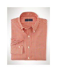Polo Ralph Lauren - Orange Gingham Cotton Poplin Shirt for Men - Lyst