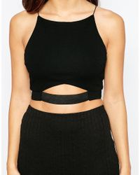 AX Paris - Crop Top With Cut Out Waistband - Black - Lyst